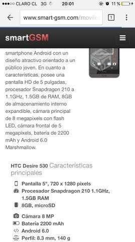 HTC Desire 530 conversable, Región Metropolitana