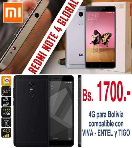 XIAOMI REDMI NOTE 4X GLOBAL VERSION 4G para Bolivia VIVA  TIGO  ENTEL Color: Negro y Gris