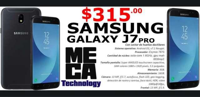 SAMSUNG GALAXY J7, J7 PRO, 4G, 16GB, CAMARA DE 13MP, NUEVOS DE PAQUETE $315