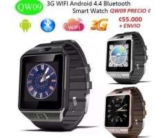 QW09 reloj Inteligente Bluetooth 4.0 1.54 pulgadas 3G MTK6572 1.2 GHz Dual Core 512 MB RAM 4 GB ROM